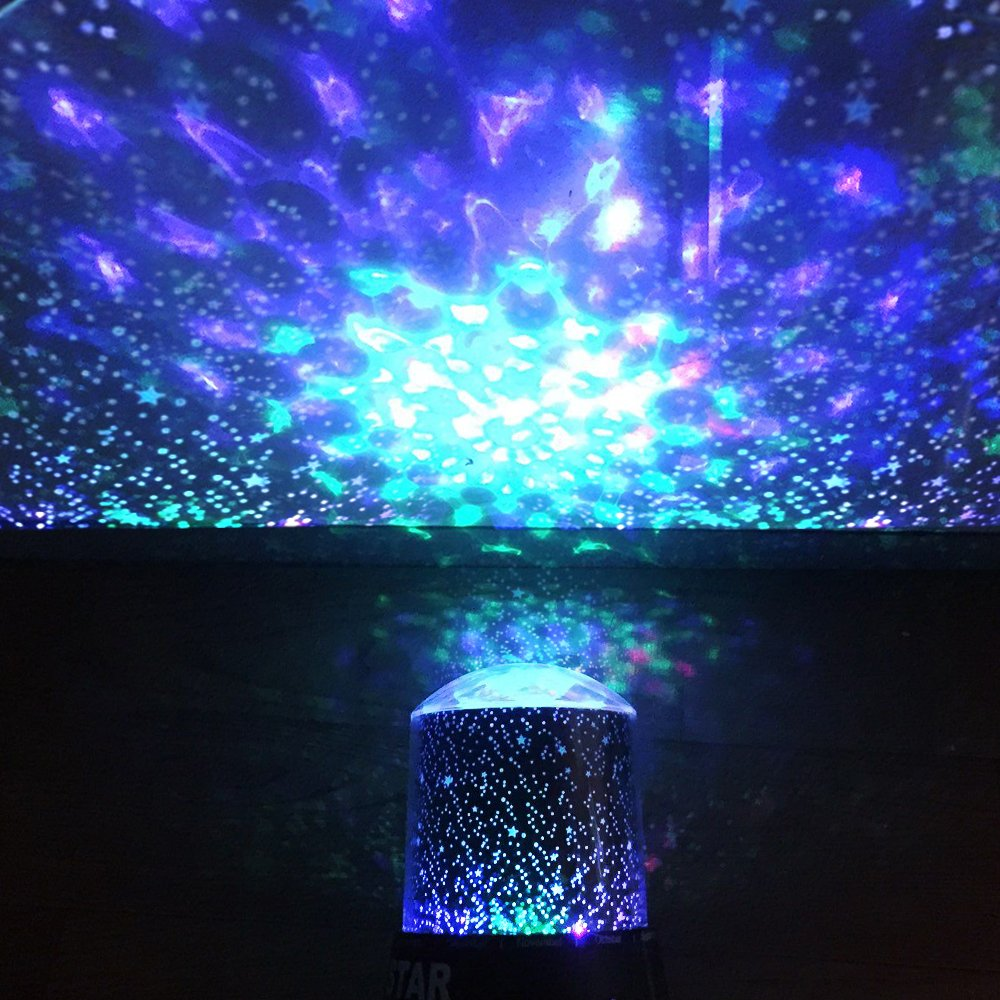 DIGOO Night Light Projector Lamp, Baby Lights, Color 2-in-1 Cosmos Star Projector Lamp, Starry Sky Night Light 360 Degree Rotation, 4 Led Bead 4 Lighting Color Change Kids, Adults, Bedroom
