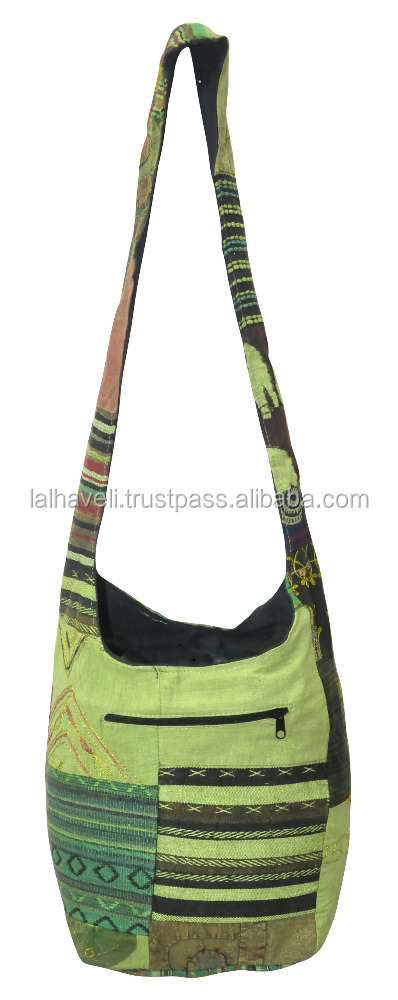 Manufacturer Of Designer Embroidered Tribal Style Sling Cotton Hand Bohemian Hippie Shoulder Crossbody Bags