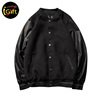 BSCI iGift Cotton Thick Dark Color Fleece Leather Sleeves Varsity Jacket
