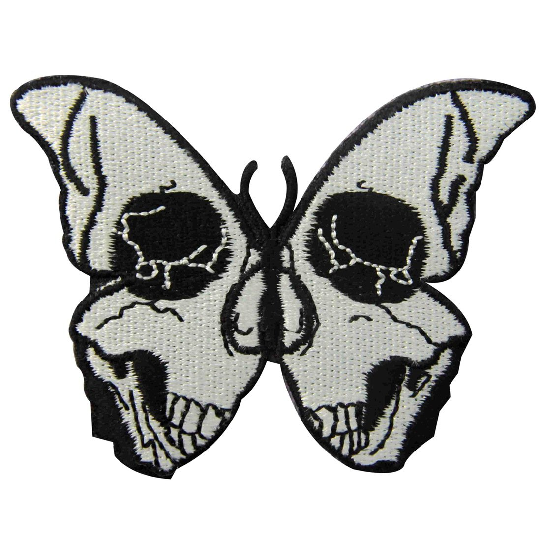 ed6a547878e Get Quotations · ZEGINs The Skull Butterfly Embroidered Badge Iron On Sew  On Patch