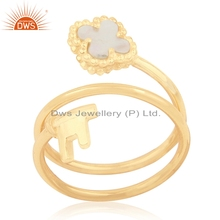 Gold Plated Twisted Clover Key Silver Ring Mother of Pearl Gemstone Ring Girls Jewelry Manufacturer