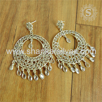 Splendid designer bridal earring crystal gemstone 925 sterling silver earrings jewelry exporters