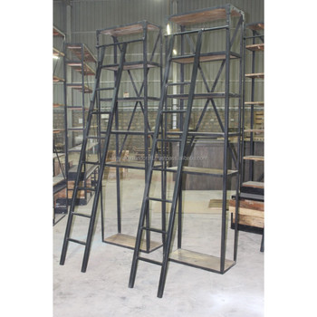 Vintage Industrial Book Shelf With Ladder Jodhpur Antique Style Tall French