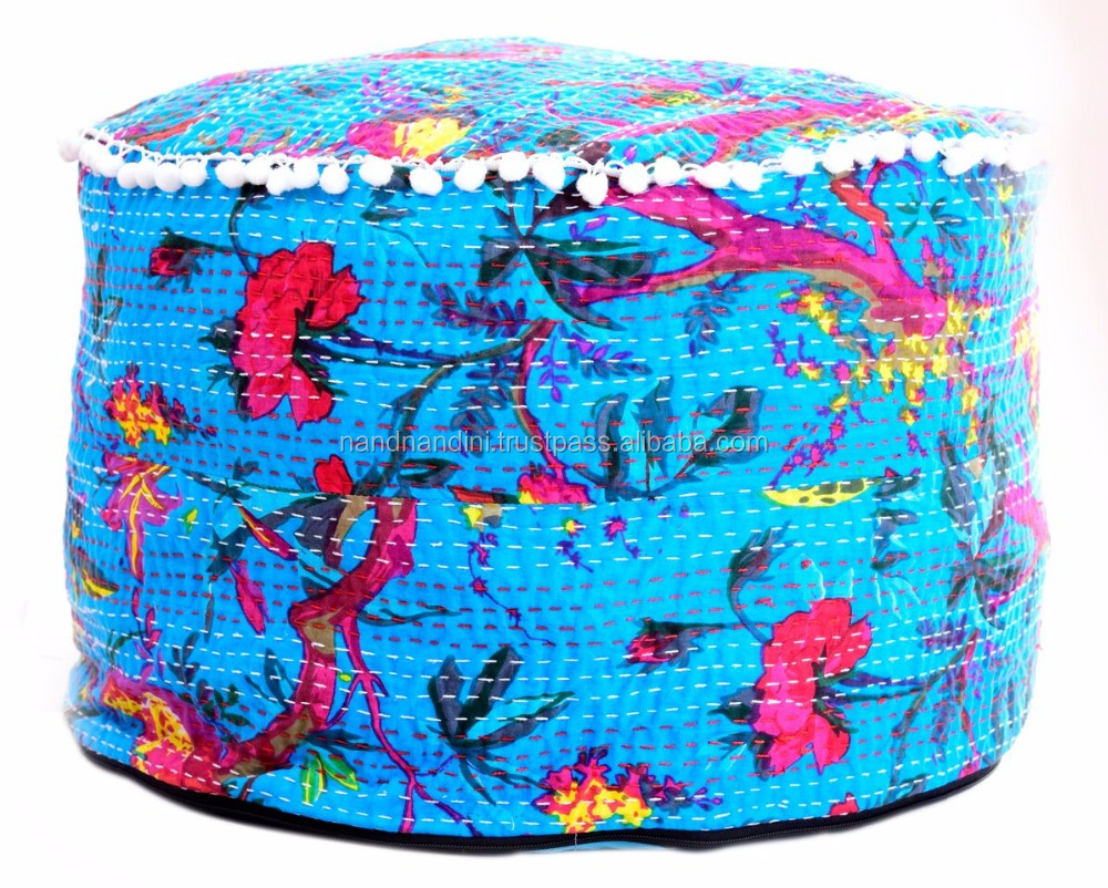 Indian Living Room Decor Seating Pouffe Cover Cotton Ethnic Antique Floor Pillow & Cushion Vintage Kantha Pouf Ottoman Bean Bags