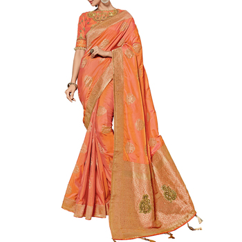 77e05d05d Pink And Orange Color Designer Heavy Embroidery and Stone Work Banarasi Silk  Saree online