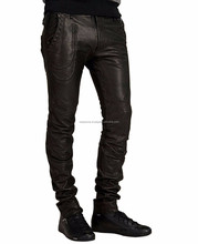 Men Brown Leather Trouser / Men Leather Jeans / Side lace Leather pant