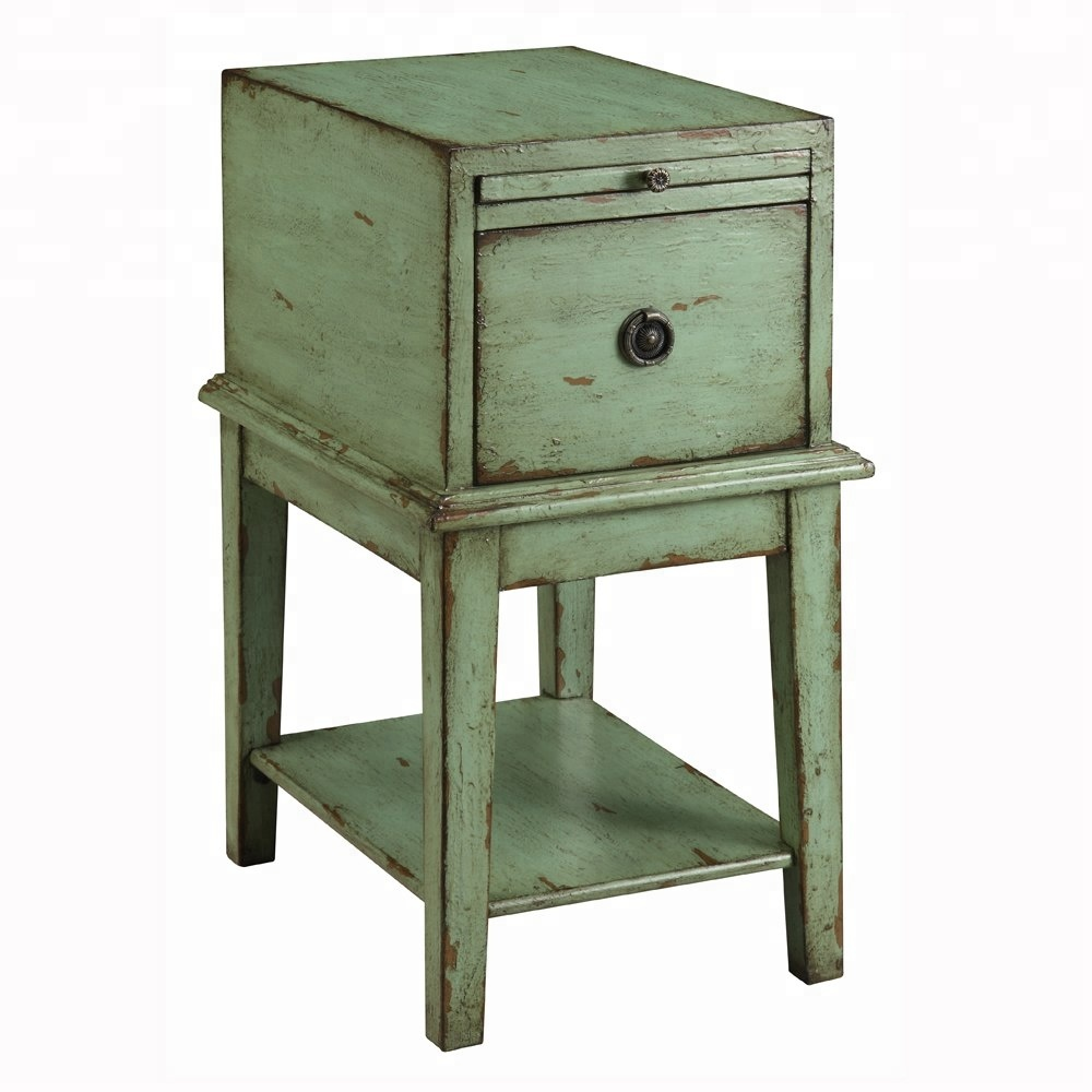 Reclaimed Wood Decorative Olive Green End Table At Whole Price