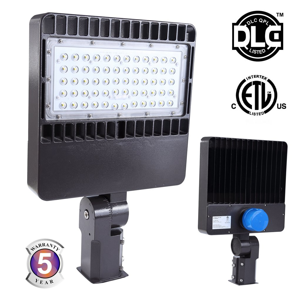 Docheer 150W LED Shoebox Pole Light with Photocell Sensor,16500 Lm, Replaces 500W Halide Auto Dusk to Down LED Parking Lot Pole Light 5000K, Outdoor Street Area Road Flood Light