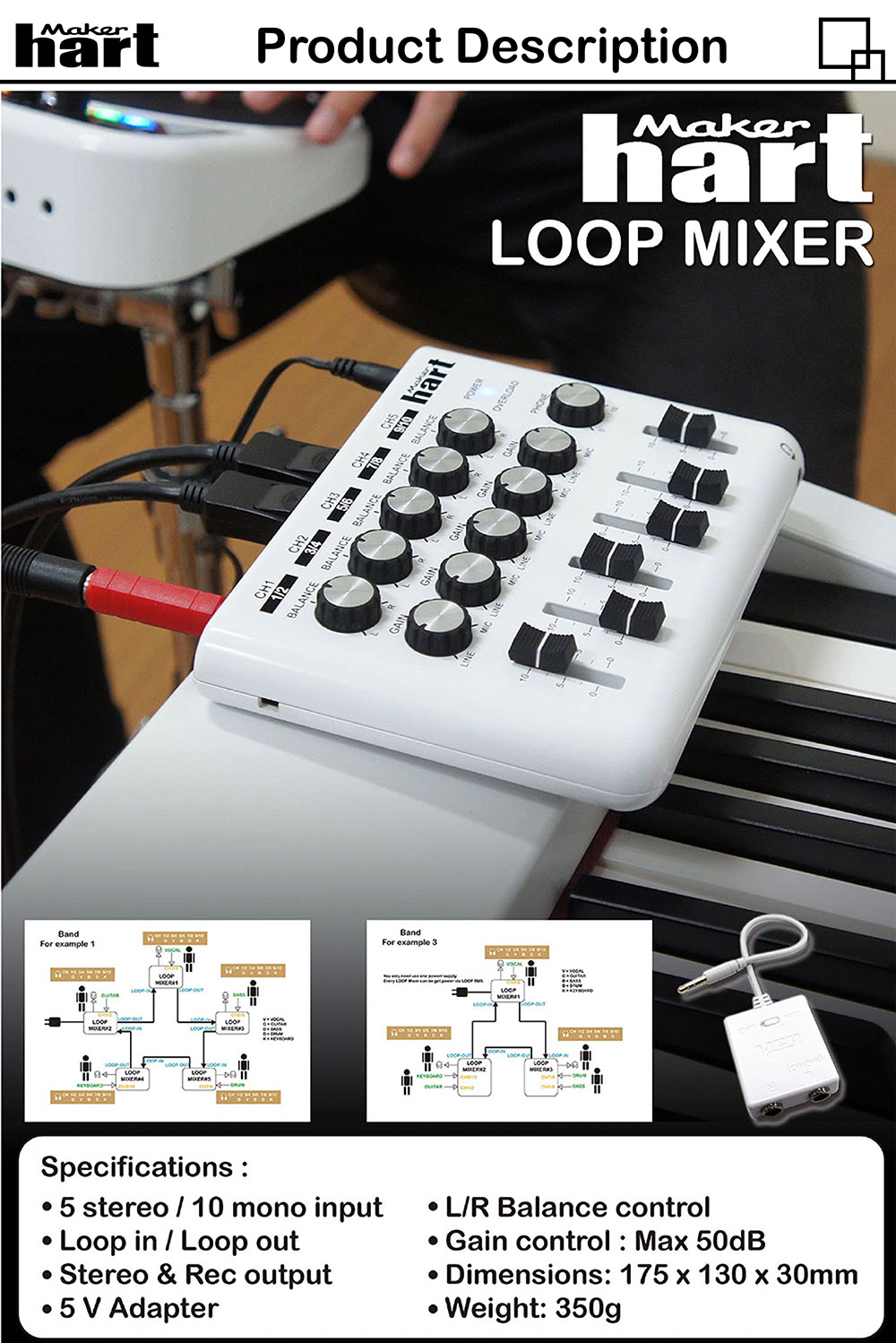 120V mini mixer home studio webcast audio