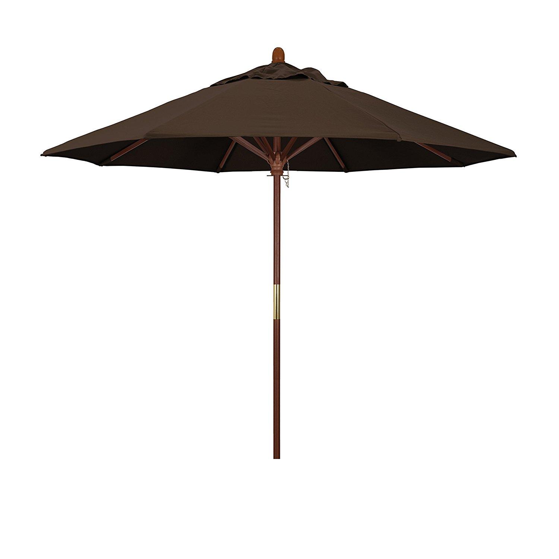 California Umbrella 9' Round Hardwood Frame Market Umbrella, Stainless Steel Hardware, Push Open, Pacifica Mocha