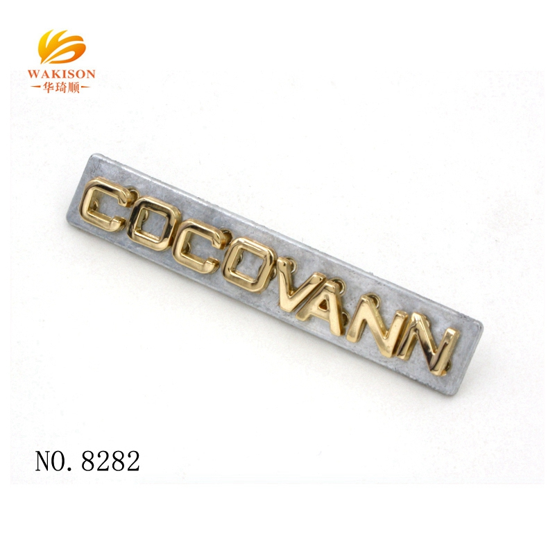 Professional Fitting Factory Make Custom Metal Letter Logo For Bag Accessories