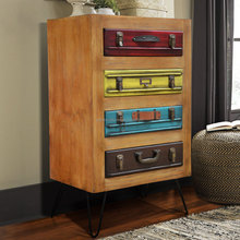 Art Furniture Chest Of 4 Drawers, Suite Case Patron Front Side Multi Color
