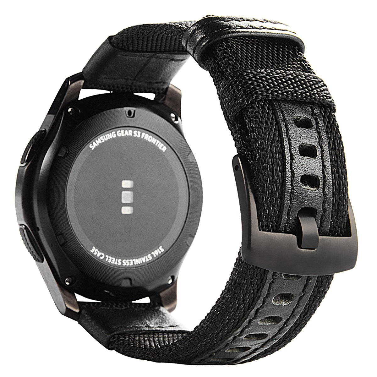 Gear S3 Bands Nylon, Maxjoy S3 Frontier Classic Band 22 mm Woven Nylon Replacement Strap Large Sport Wristband Bracelet with Stainless Steel Metal Clasp Buckle for Samsung Gear S3 Smart Watch, Black