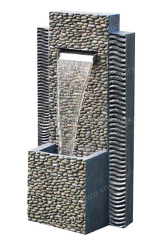 Whole Pebble Slate Water Fountain Stacked Stone Walls And Features