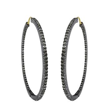 925 Sterling Silver Pave Diamond Big Hoop Earrings Buy Diamond
