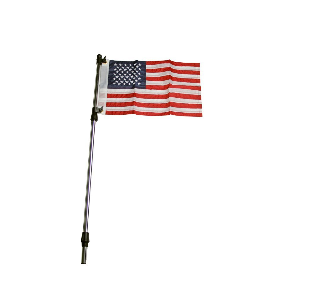 "Pactrade Marine Boat Flag Pole Telescoping from 26"" to 48"" Aluminum 3/4"" Tube w/USA Flag"