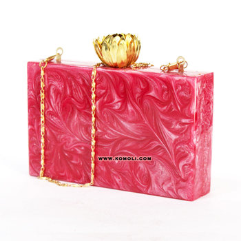 Pink marble vintage design custom acrylic clutch box bag