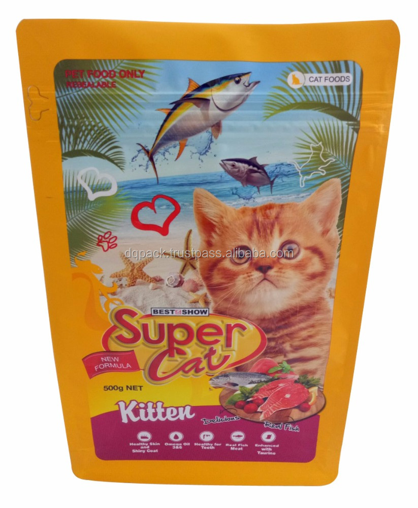 high quality cat food treat plastic bag, cat food packaging bag with side gusset, kitten pet food bag with zip