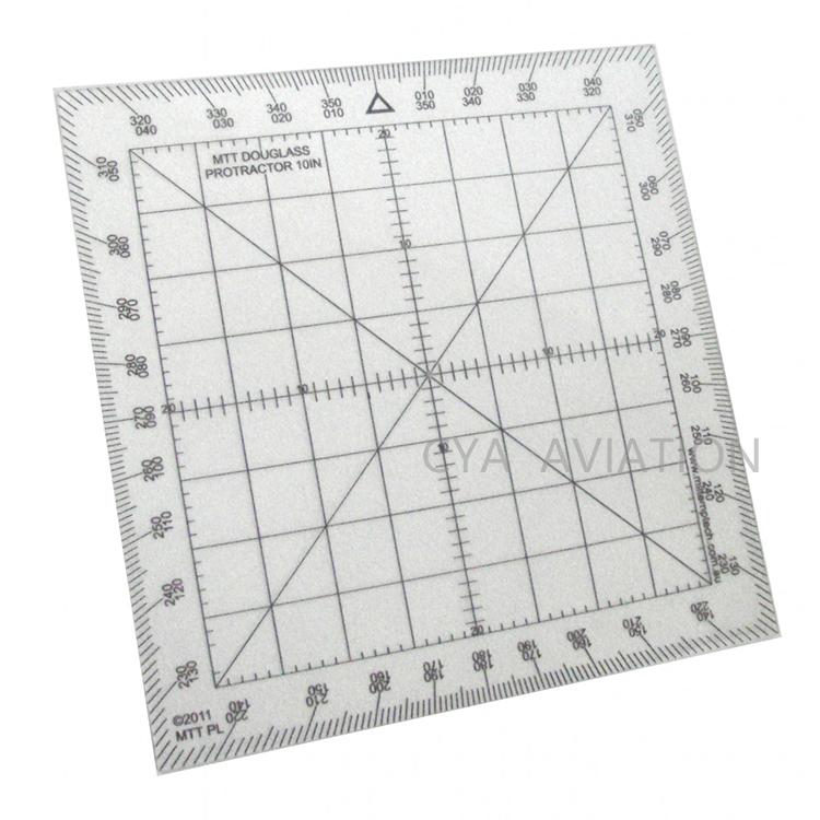 Douglas Protractor 10 IN Plastic Square Map Marking Protractor