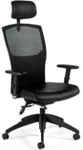 """Global Executive Mesh Back Office Chair Overall Dimensions: 25""""W X 24.5""""D X 48.5""""H Seat Dimensions: 19.5""""W X 18-19.5""""D X 16.5-20.5""""H Back Dimensions: 18""""W X 29.5""""H - Black"""