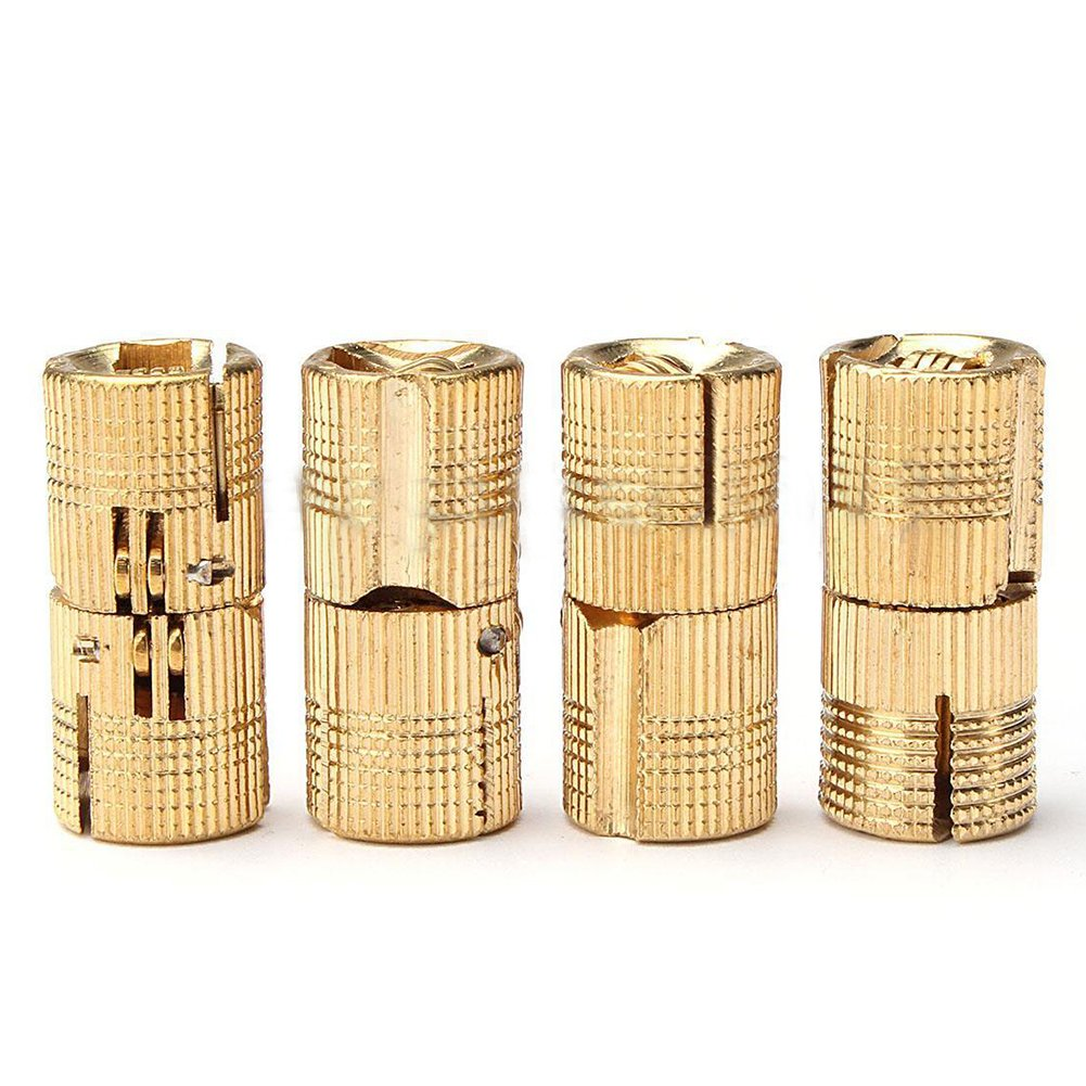 SODIAL(R) 4pcs 8/12mm Brass Barrel Invisible Hinge for Cabinet Door Caravan Worktops 180o Sizes:8Mm