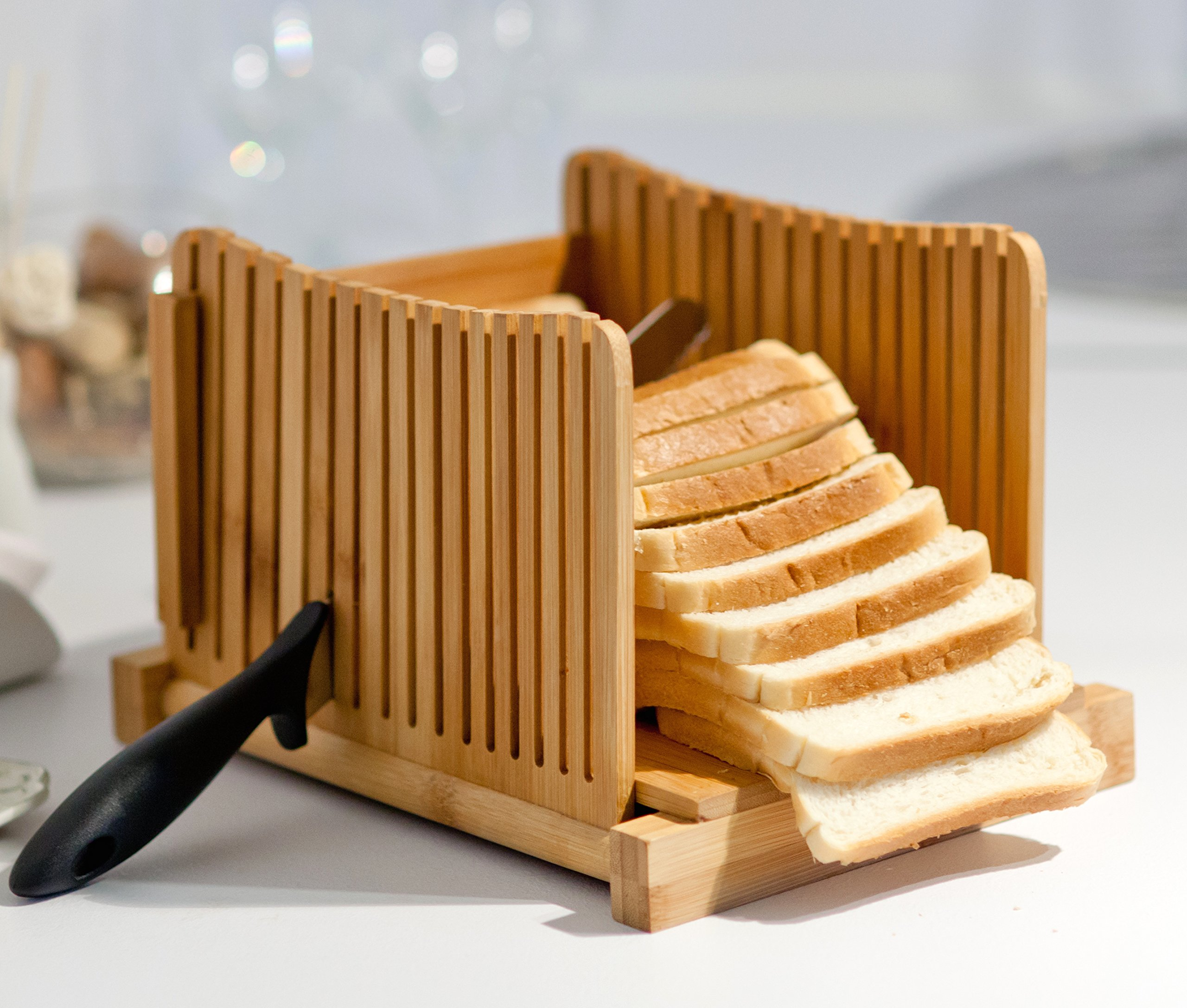 "Homemade Bread Loaf Slicer - Bamboo Wood Cutter Box with Knife Slicing Guide & Cutting Board - Adjustable Slice Size Thin Thick 1/3"" 3/8"" 1/2"" - Foldable Manual Bread Slicer Perfect for Bread Machine"