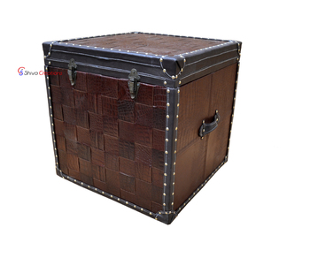 Crocodile leather storage trunk