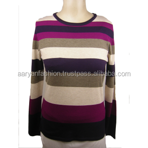 Ladies Fashion Striped Long Sleeve Knitwear