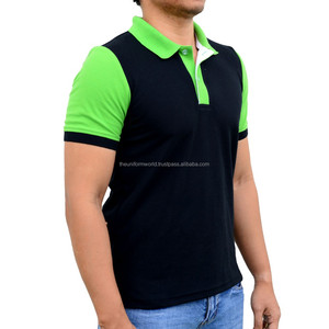 3-Tone Polo T Shirt Collar Black with Green White Contrast for Work Wear Uniform Manufacturer in Dubai UAE