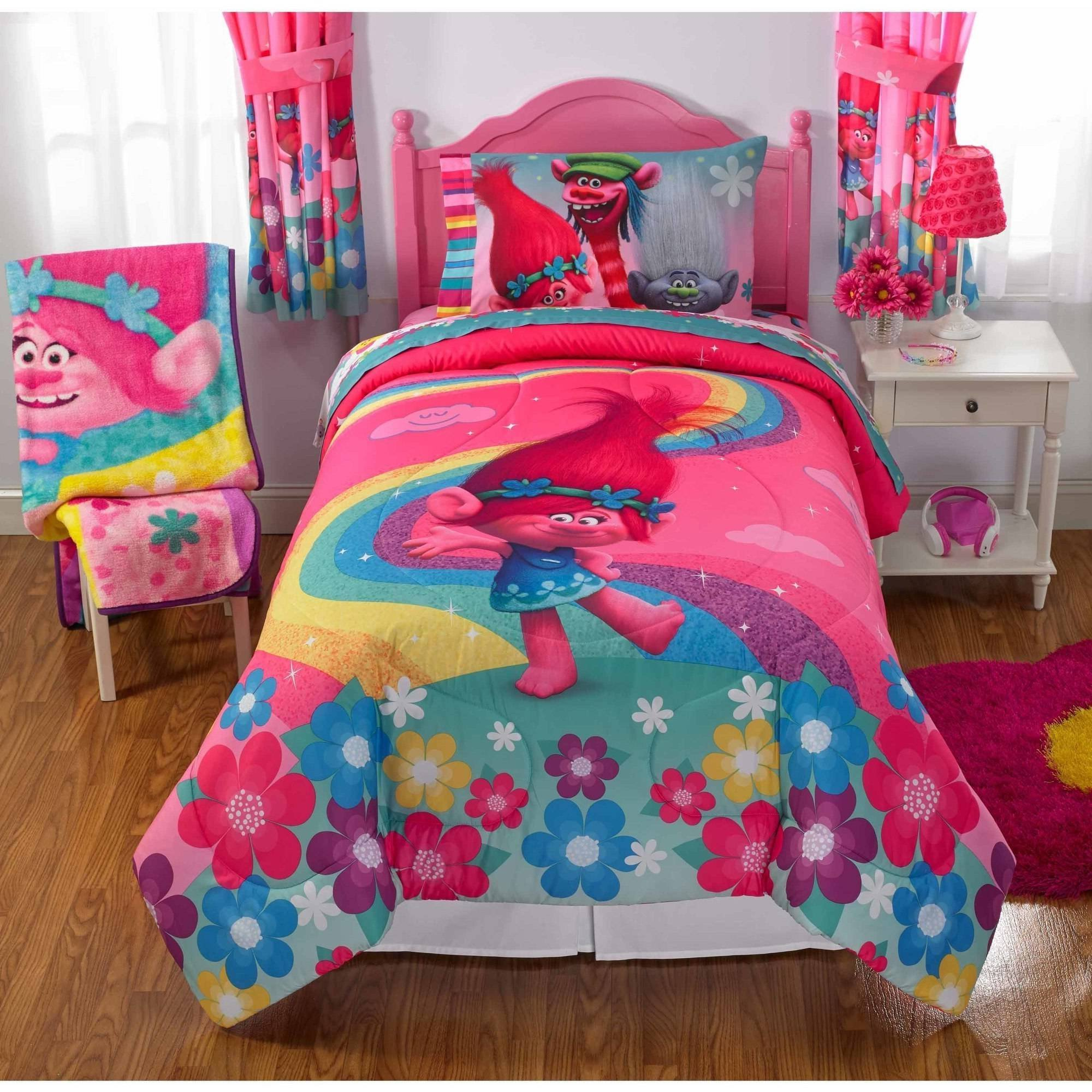 4 Piece Girls Pink Blue Kids Dreamworks Trolls Comforter Twin Set, Yellow Purple Kids Bedding Rainbow Princess Poppy Flower Design, Branch Guy Diamond Cartoon Characters Fun Adventure Teen, Polyester