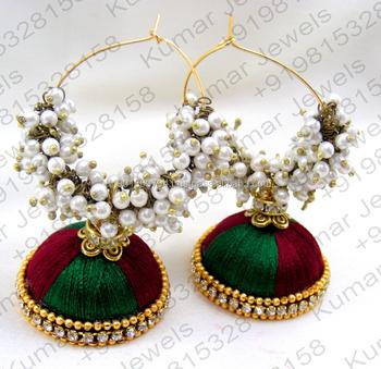 52dd2555a3b Long Silk Thread Jewelry Traditional Handmade Gold Plated Fashion Multi  Color Pearl Beaded Cz Stone Jhumka Hoop Earrings - Buy Fashion Jewelry  Jhumka ...