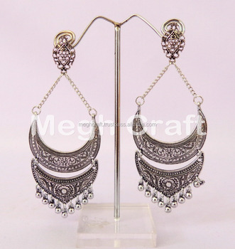 Indian Oxidized Jhumka Earrings Vintage Antique Silver Plated Earring Dangle