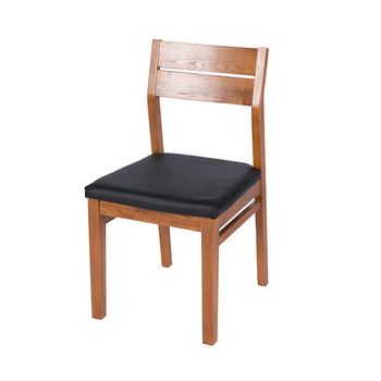 Ash wood side chair with PU leather seat