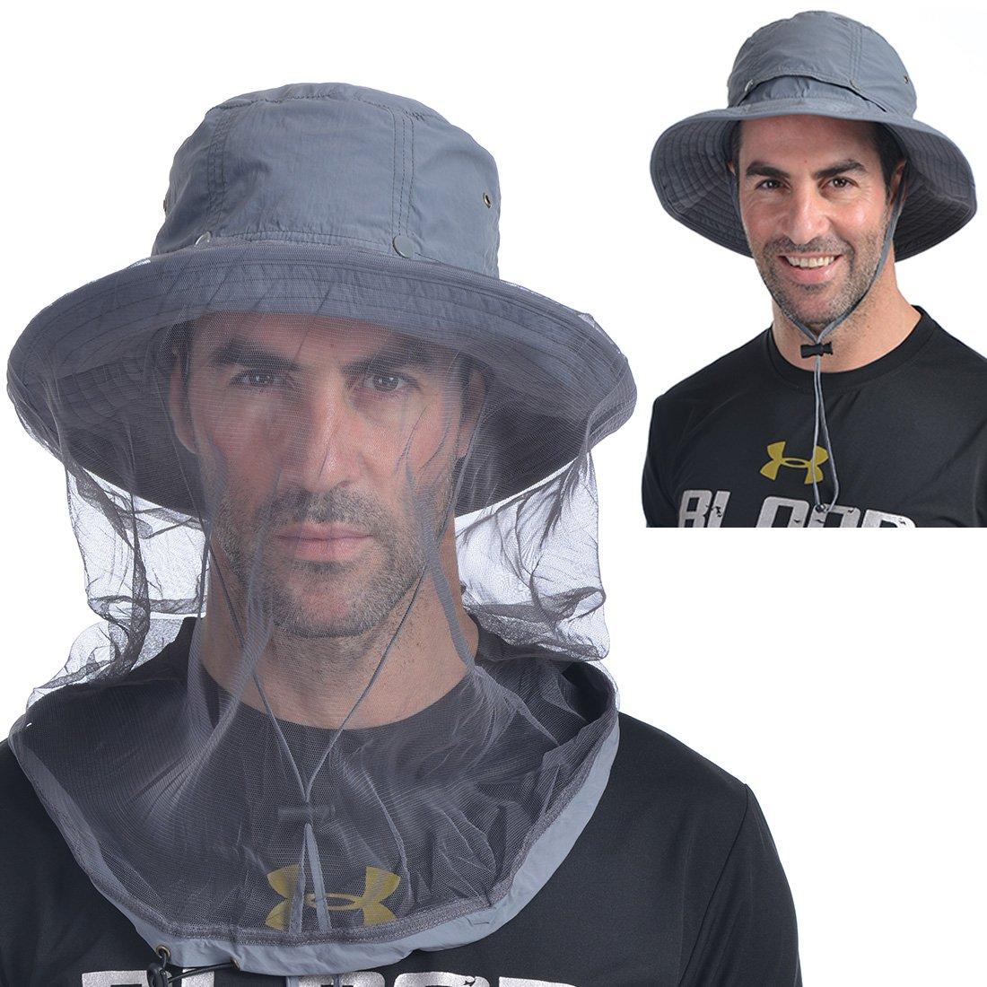 3888aeb2ecd23 Get Quotations · UShake Mosquito Head Net Hat