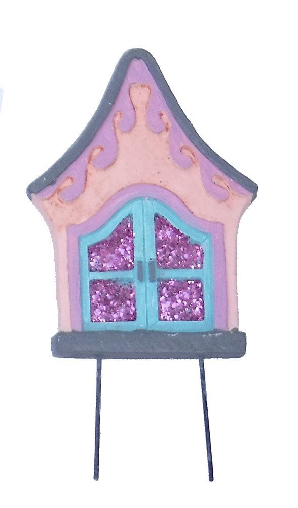 """Miniature elf gnome mini small Fairy Garden Enchanted Gnome tree home Door 6"""" H (PINK WITH PURPLE SPARKLE)"""