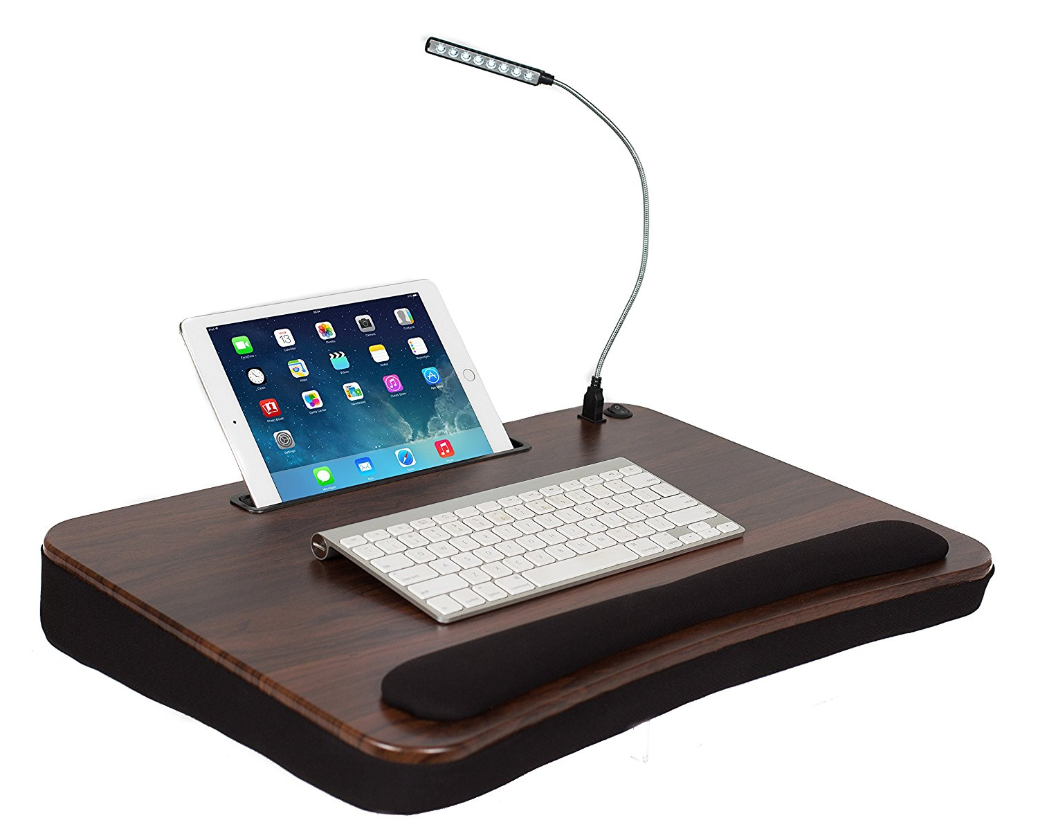 Sofia & Sam XLG Deluxe Lap Desk with Tablet Slot (With USB Light, Wood Top )