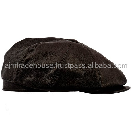 leather cap - new design in leather baseball caps - fashion black leather snapback cap-AJM-126
