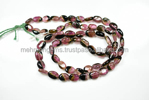 Natural Untreated Watermelon Tourmaline Smooth Oval Beads