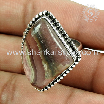 Magnificent rhodochrosite gemstone ring silver jewellery wholesale 925 sterling silver jewelry