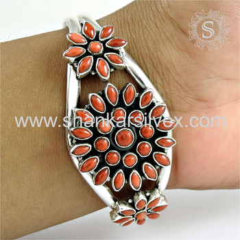 Fabulous design silver bangle coral gemstone 925 sterling silver wholesale jewelry bangles supplier