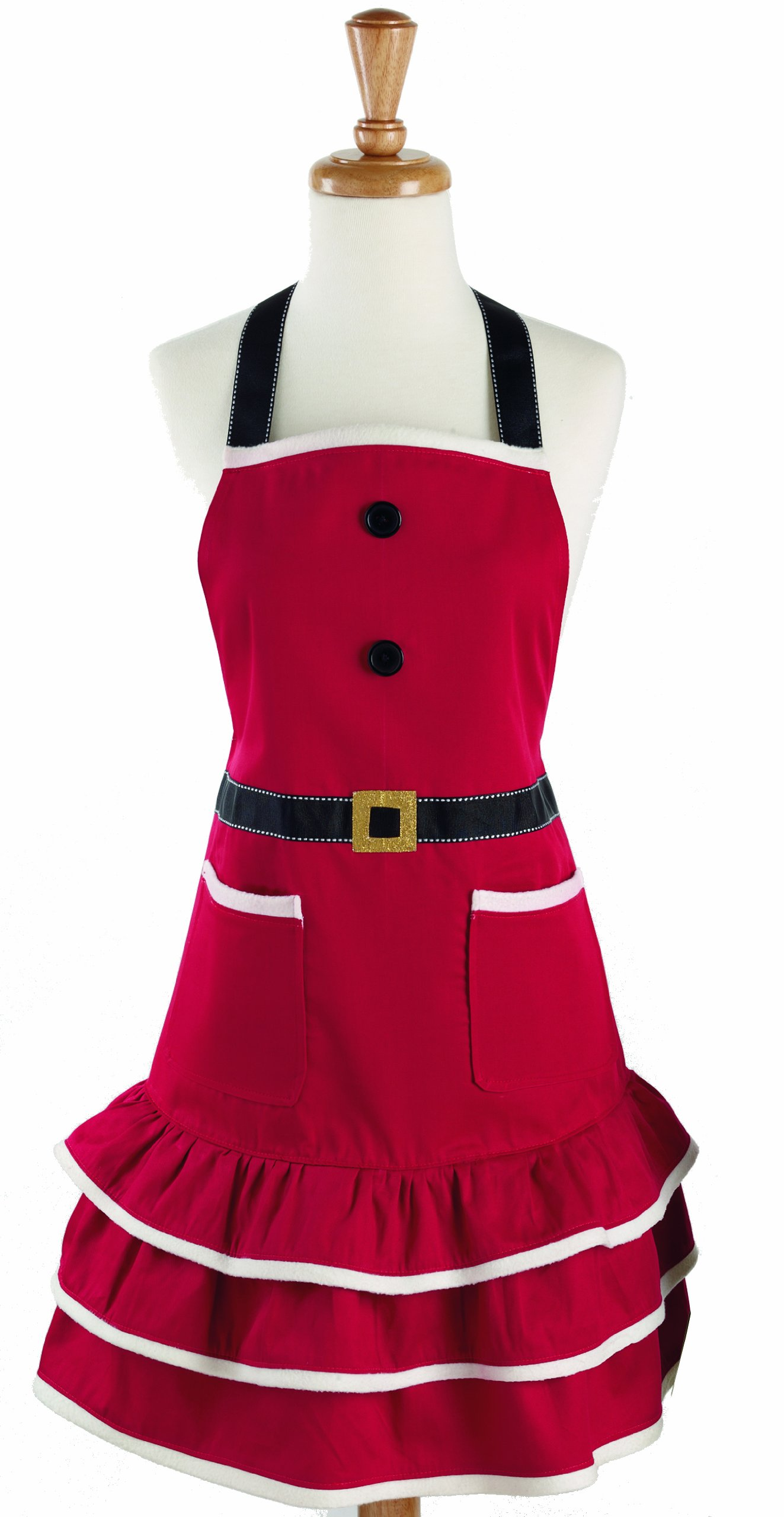 DII Cotton Chistmas Kitchen Apron with Pocket and Extra Long Ties, 29.5 x 24, Cute Women Ruffle Apron for Holidays, Hostee and Housewarming Gift-Mrs. Claus