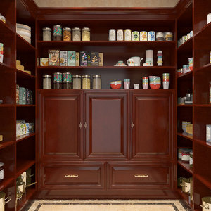 OPPEIN Mahogany Solid Wood Corner Kitchen Pantry Cabinet