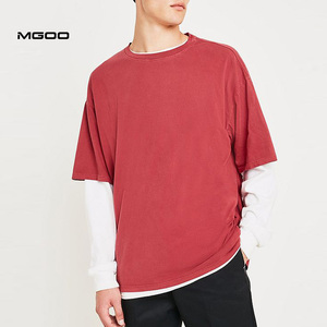 MGOO Custom Heavy Ringspun Cotton Double Layer Blank Red Dyed Dad T-Shirt