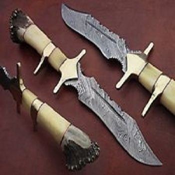 CUSTOM HAND MADE DAMASCUS STEEL FIX BLADE HUNTING KNIFE