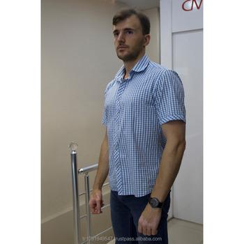manga azul Camisa algodón estilo Plaid elegante Hombres de corta moda  sólido moda 2017 nTc7cxqIE a982cbb3e17