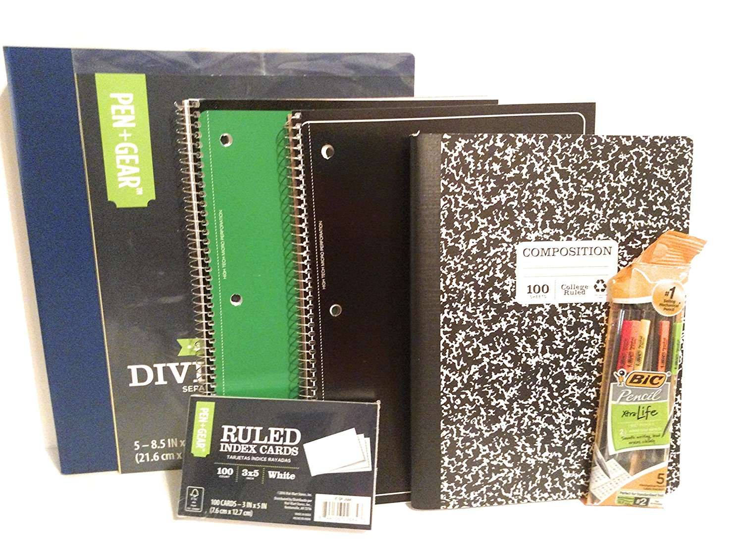 School Supply Bundle Pack for High School, Middle School or College - Spiral Notebooks, Bic Mechanical Pencils, Binder, Dividers, Index Cards, Composition Book (College Ruled - 7 Item Set)