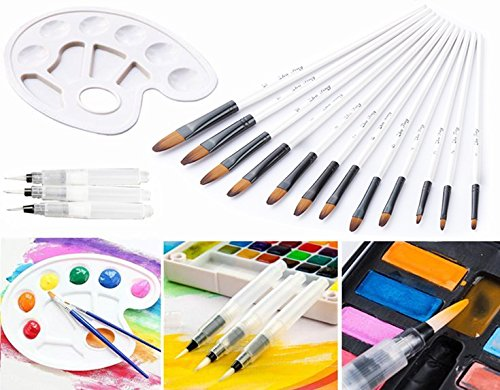 12 Fine Painting brushes + 3 Watercolor Brush Pen + 1 Painting Tray Palette, Magnolora Detail Paint Brush Set Round Pointed Tip Nylon Hair Artist Paint Brush for Watercolor Oil Face Miniature Painting