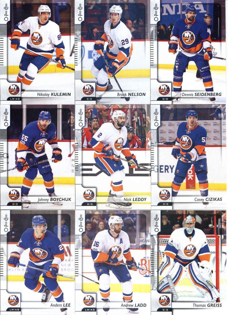 2017-18 O-Pee-Chee Hockey New York Islanders Team Set of 16 Cards: Alan Quine(#12), Josh Bailey(#41), Anthony Beauvillier(#49), Ryan Strome(#76), Calvin de Haan(#108), Jason Chimera(#141), John Tavares(#170), Anders Lee(#227), Andrew Ladd(#272), Thomas Greiss(#285), Johnny Boychuk(#323), Nick