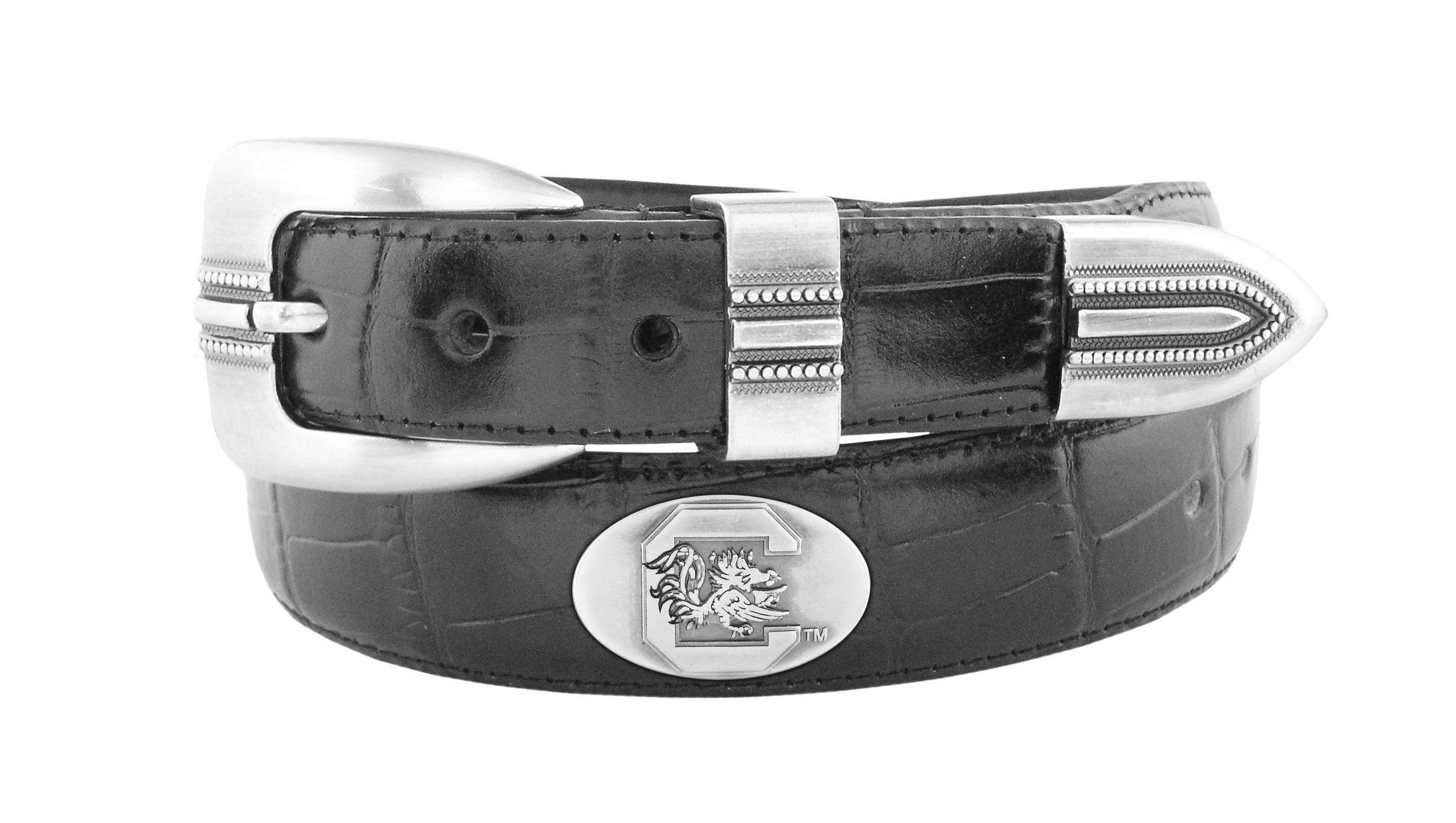 NCAA North Carolina State Wolfpack Croc Leather Webbing Concho Belt