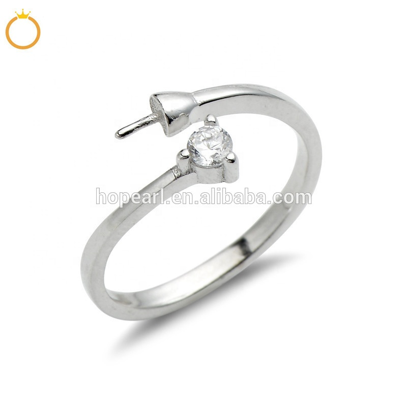 SSR35 Simple Ring Design Jewelry Findings Zircon 925 Sterling Silver Pearls DIY Making Ring Mount
